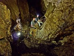 Speleologists in caves Luppa